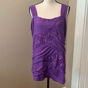TORRID RUCHED PURPLE TOP WITH LACE PANELS